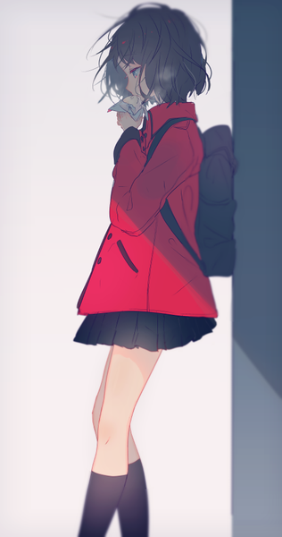 Anime Picture 500x948 With Original Yuno Tsuitta Single Tall Image Short Hair Black Hair Simple Anime Art Girl Kawaii Anime Anime Characters