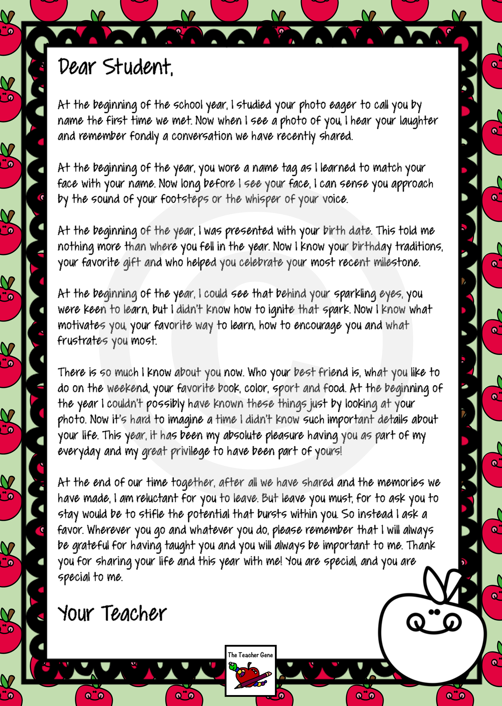 End of Year Letter From Your Teacher Editable Letter to