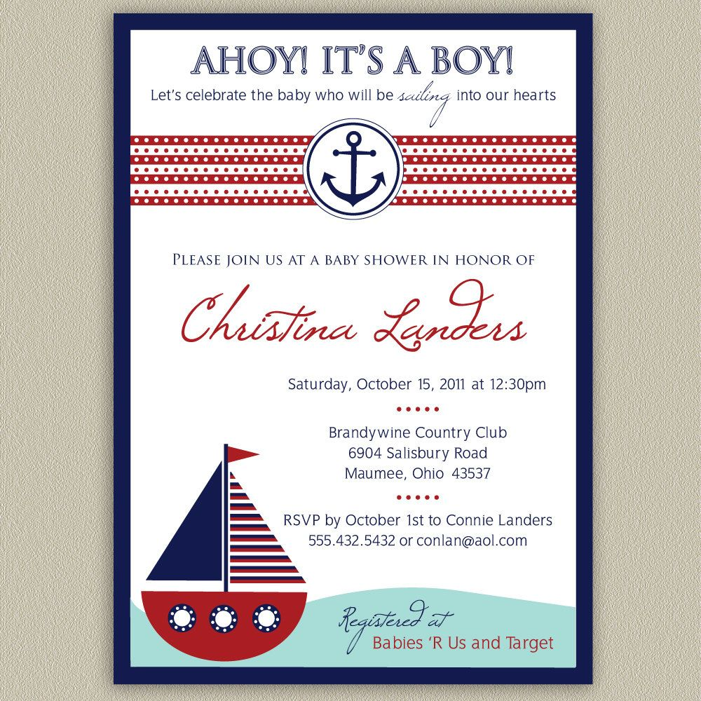 ahoy it s a boy nautical baby shower invitation 16 00 via etsy