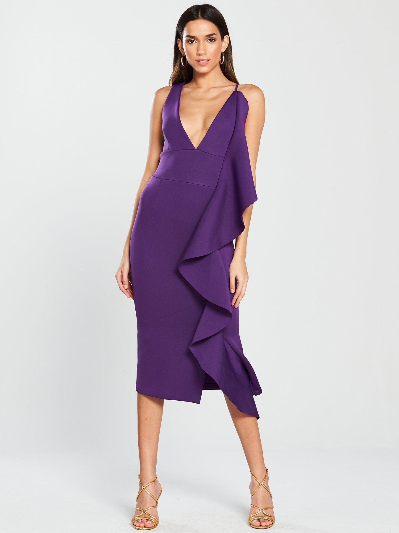 64fdc9cda Lavish Alice Scuba Asymmetric Draped Frill Midi Dress - Purple