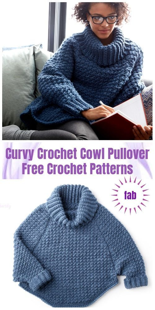 Crochet Curvy Crochet Cowl Pullover Sweater Free Crochet Patterns - Video
