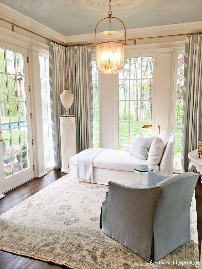 Gorgeous Serene Light Blue And Cream Sitting Room Off Bedroom In Southeastern Designer Showhouse Atlanta 2017