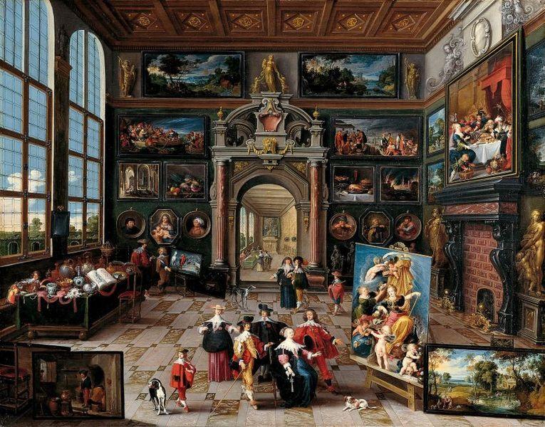 First half of 17th century. Galery in Sammlers by Frans Francken (II) (1581-1642). Sammlung Schönborn-Buchheim. #Art #Painting #Baroque