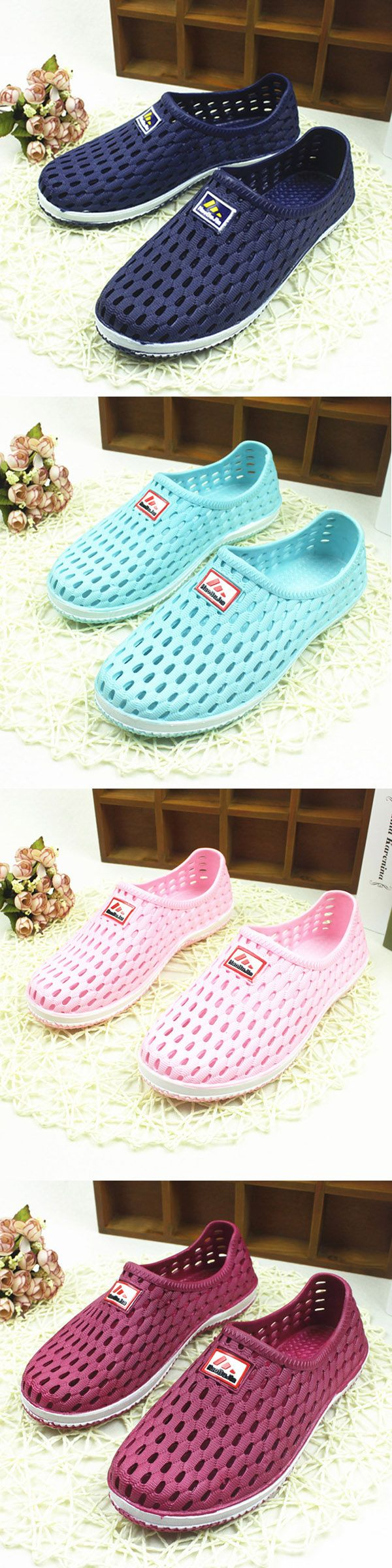 US$9.25  Big Size Breathable Hollow Out Pure Color Soft Sole Flat Beach Sandals_Summer Beach Sandals_Rainy day Waterproof Sandals