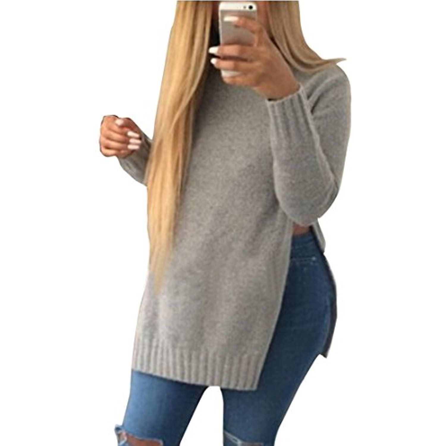 ZSN Womens Autumn Solid Side Slit Slim Fit Knit Pullover Sweater *** Want additional info? Click on the image. (This is an affiliate link and I receive a commission for the sales)