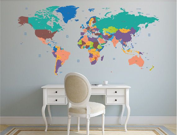 World map decal political world map wall decal country names map explora mapas murales y mucho ms world map decal political world map wall decal country names gumiabroncs Images