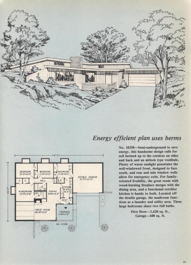 Vintage House Plans Passive Solar Sunken Living Room Octagon Apartment Suite Vintage House Plans Passive Solar House Plans Underground House Plans