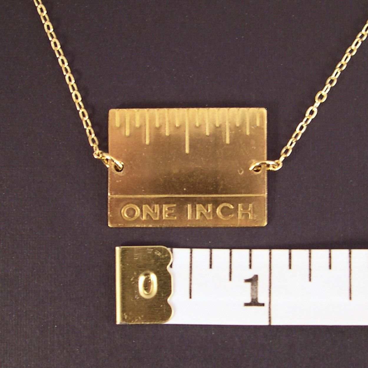 Golden Real Inch Ruler Necklace Gold Filled Chain Science Jewelry Geek Jewelry Gold Plated Necklace
