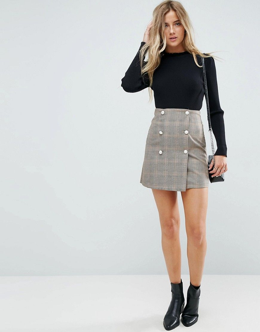 a847f09843d3 ASOS Double Breasted Mini Skirt in Check with Faux Pearl Buttons - Bei