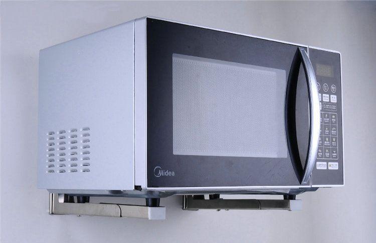 wall mount stainless steel microwave shelf folding. Black Bedroom Furniture Sets. Home Design Ideas