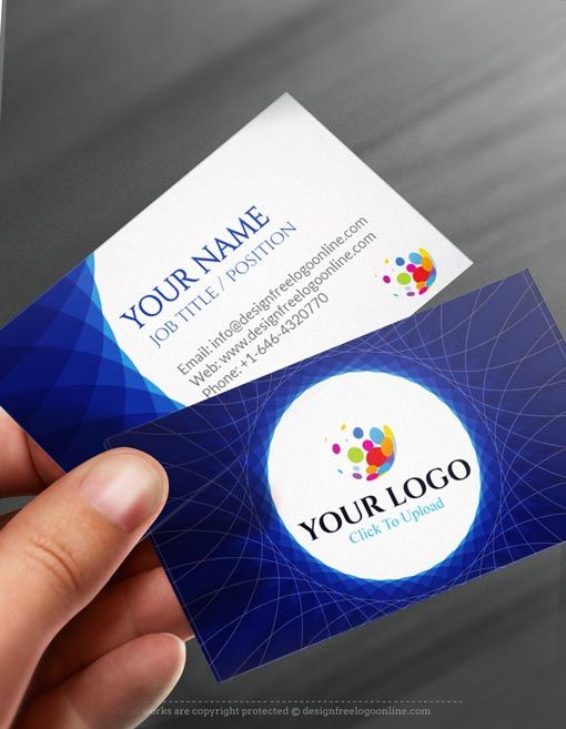 Online Free Business Card Maker App Abstract Blue Business Card - Business card template app
