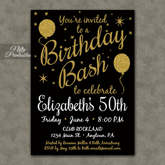 Printable Birthday Invitations Black Gold by NiftyPrintables – Golden Birthday Invitation