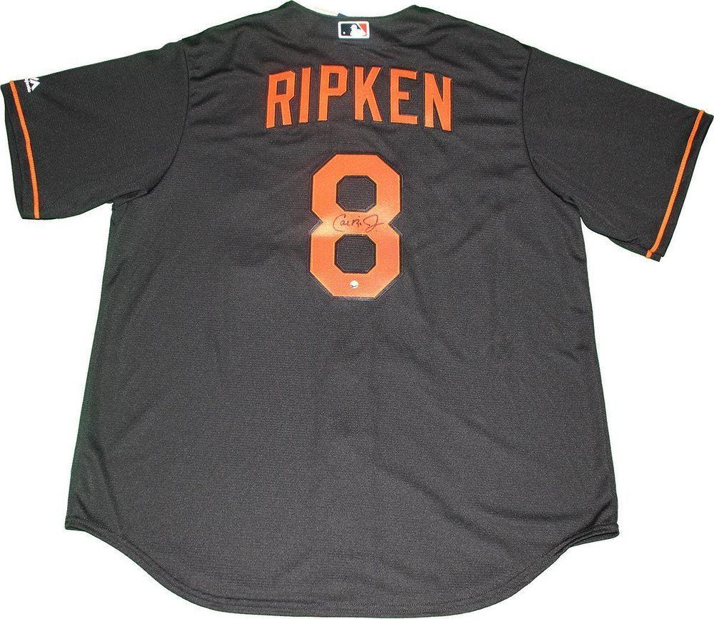 73bb096ed03 Cal Ripken Jr Signed Baltimore Orioles Majestic Cool Base Replica Black  Jersey