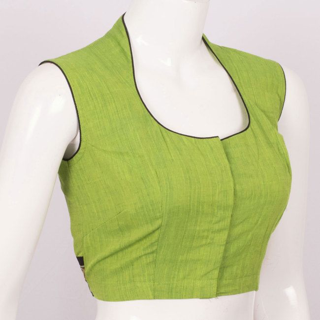 Handcrafted Green Cotton Blouse With Sleeveless Collar Neck