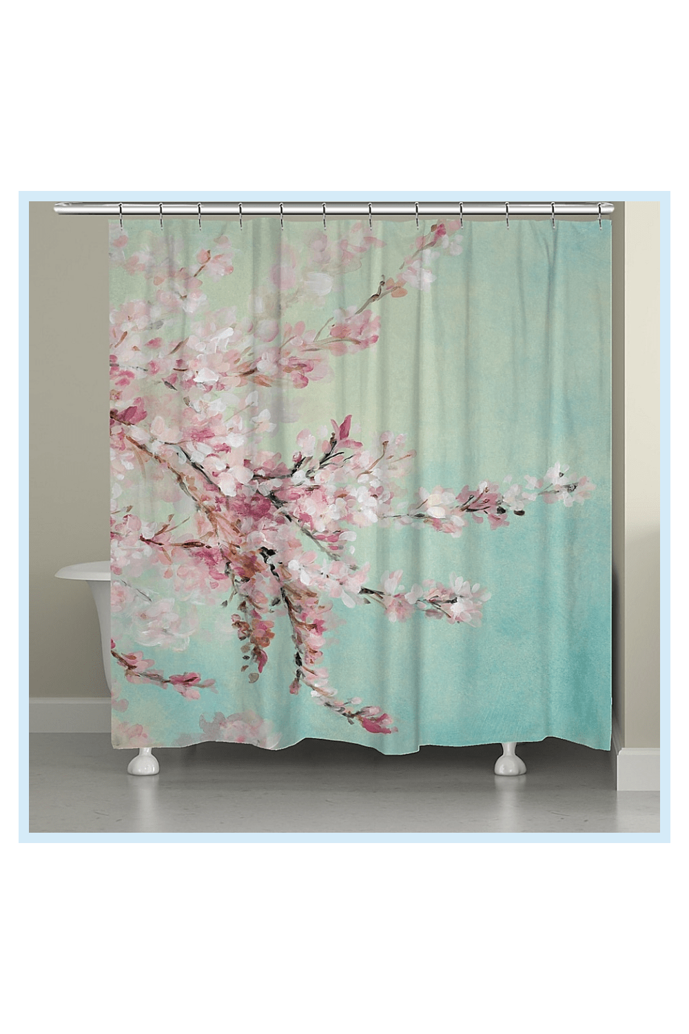 Laural Home Cherry Blossoms Shower Curtain In Blue Pink In 2020 Laural Home Cherry Blossom Decor Curtains