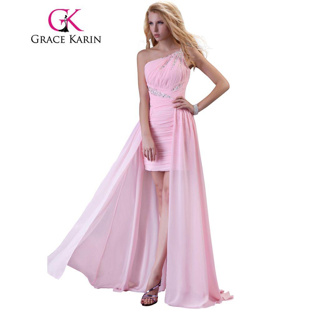 Grace karin elegant cheap prom dress one shoulder pink robes de