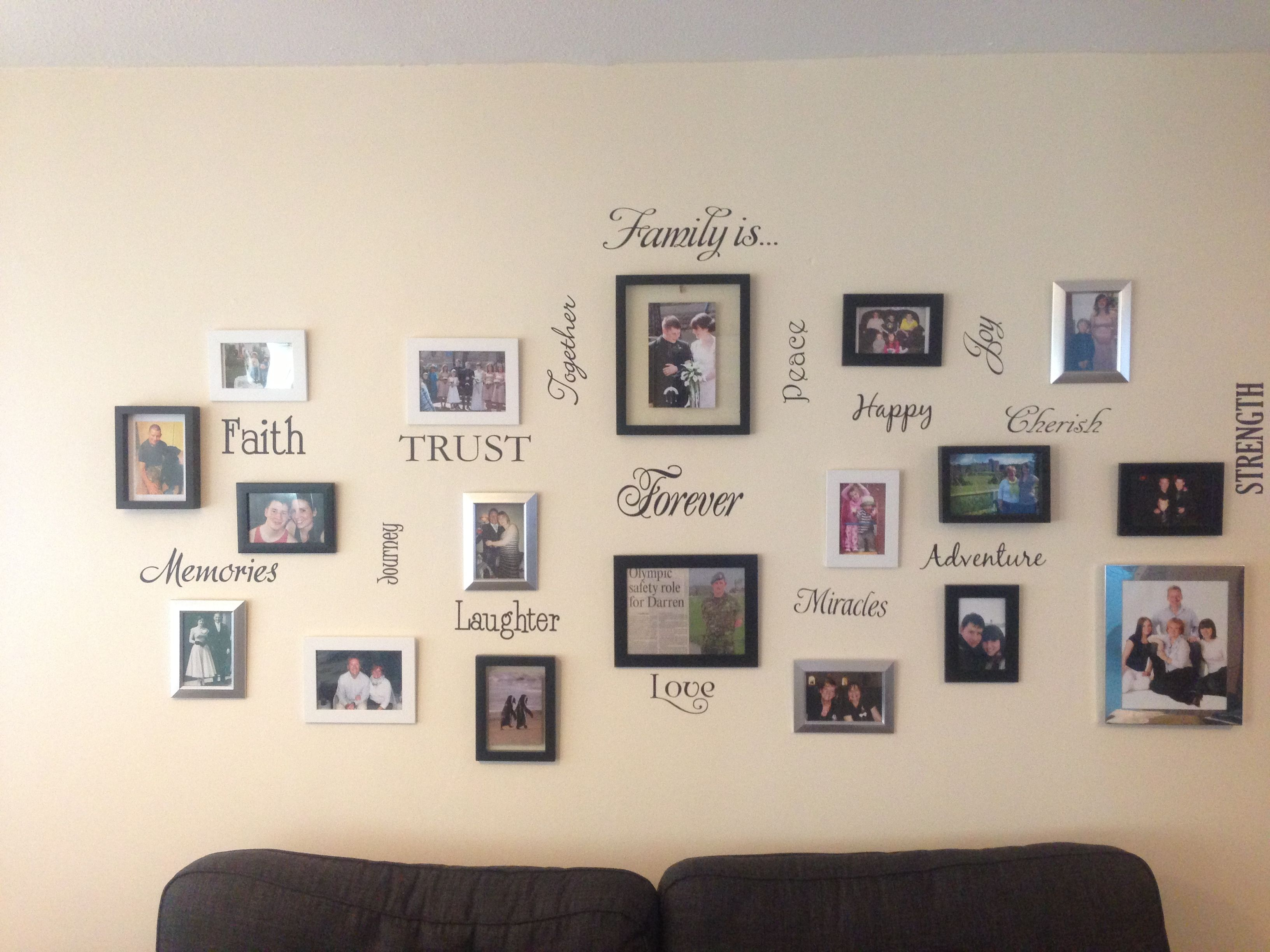 Family wall collage - a bunch of matching and mismatching black ...