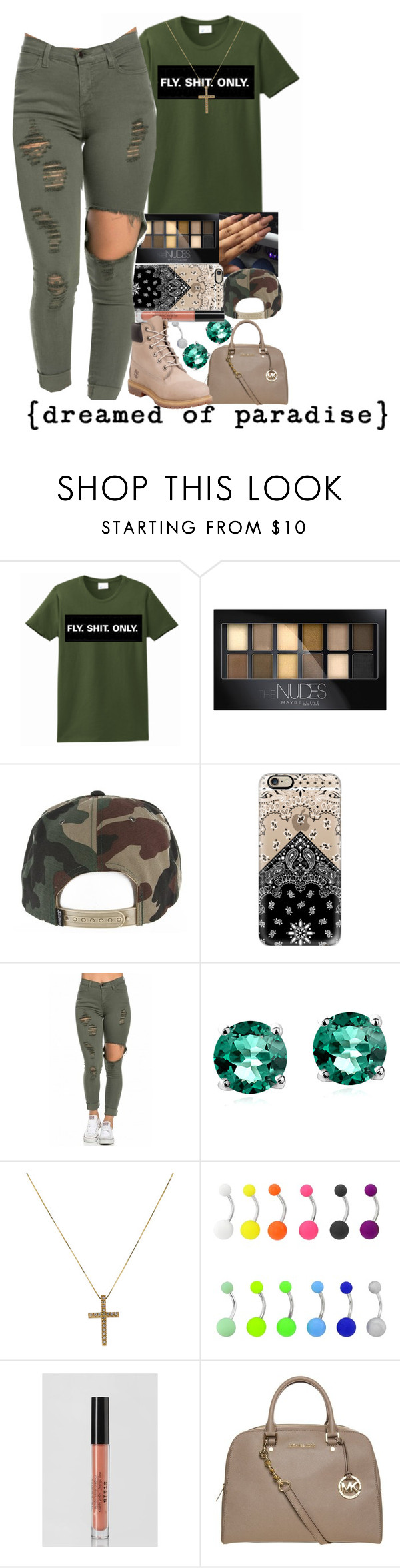 """its going down in the dms"" by wma0411 ❤ liked on Polyvore featuring Maybelline, Casetify, Glitzy Rocks, Stila, MICHAEL Michael Kors, Timberland, women's clothing, women, female and woman"