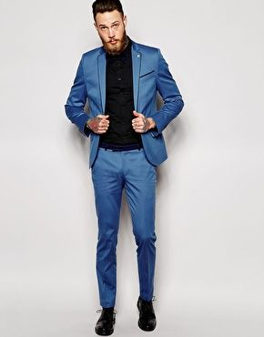 Noose & Monkey Suit Light Blue with Contrast Piping in Skinny Fit ...