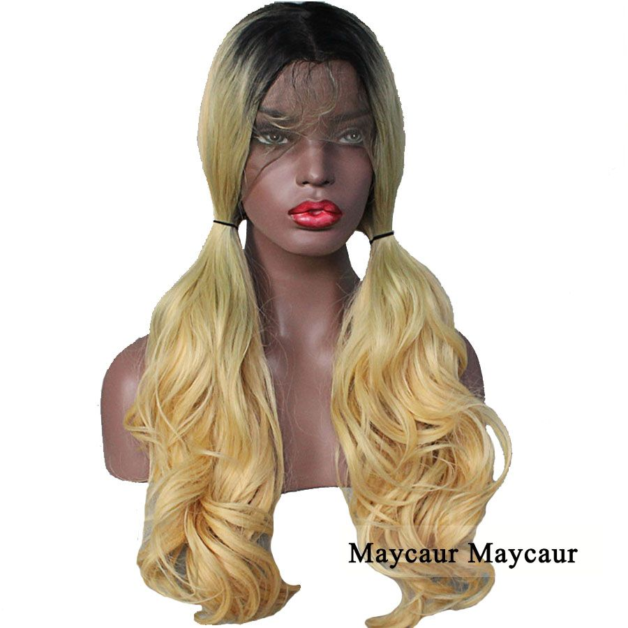 tones long wavy lsynthetic lace front wigs for women black blonde