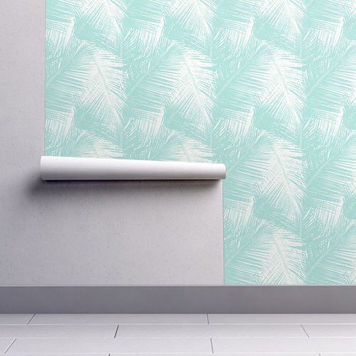 Palms Aqua Wallpaper Temporary Removable From Gail Wright At Home A Tropical Palm Leaf