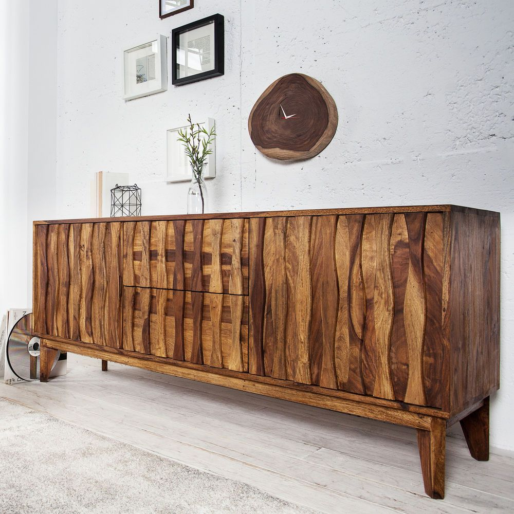 Details zu Sideboard RETRO 160cm Sheesham Massivholz Board Kommode ...