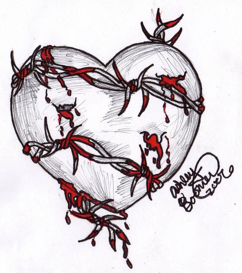Barbed Wire Heart by Boomboom34 on @DeviantArt | draw | Pinterest ...