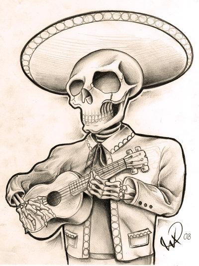 Mariachi Skeleton Guy By Willem Skeleton Mariachi Guy First One I Ll Probably Sketch Up A Whole Band Not Finished And No Sketches Evil Skull Tattoo Mariachi