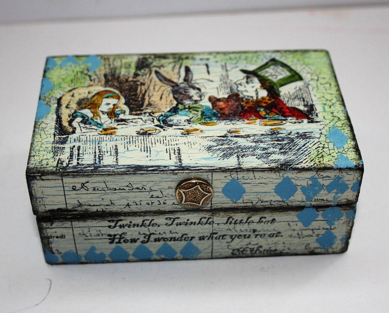 Alice In Wonderland Jewellery Box Hand Painted Trinket Fuse Bat Ideas Keepsake By Gingersalteredbits On Etsy