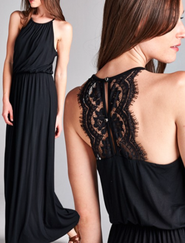 Maxi dress with lace detail jersey