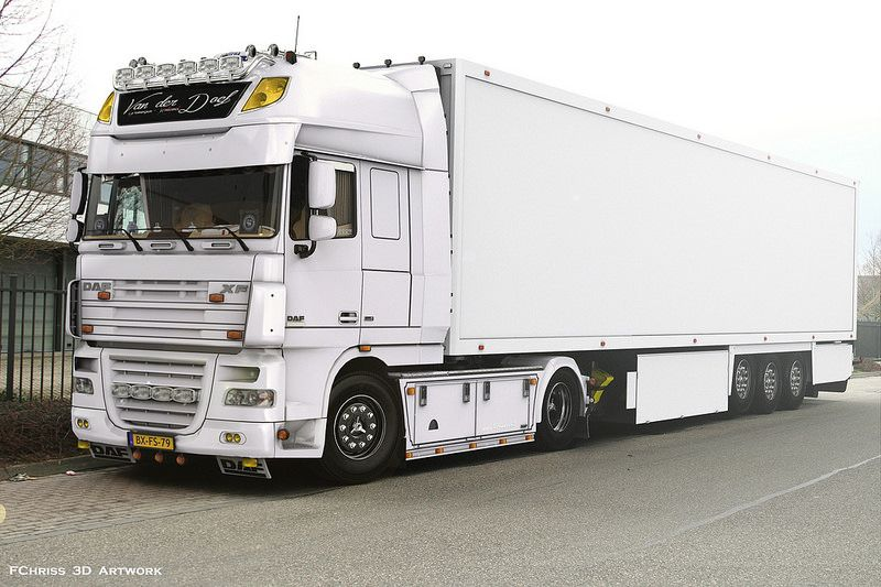 White bullet (DAF XF 105) rendered in KeyShot