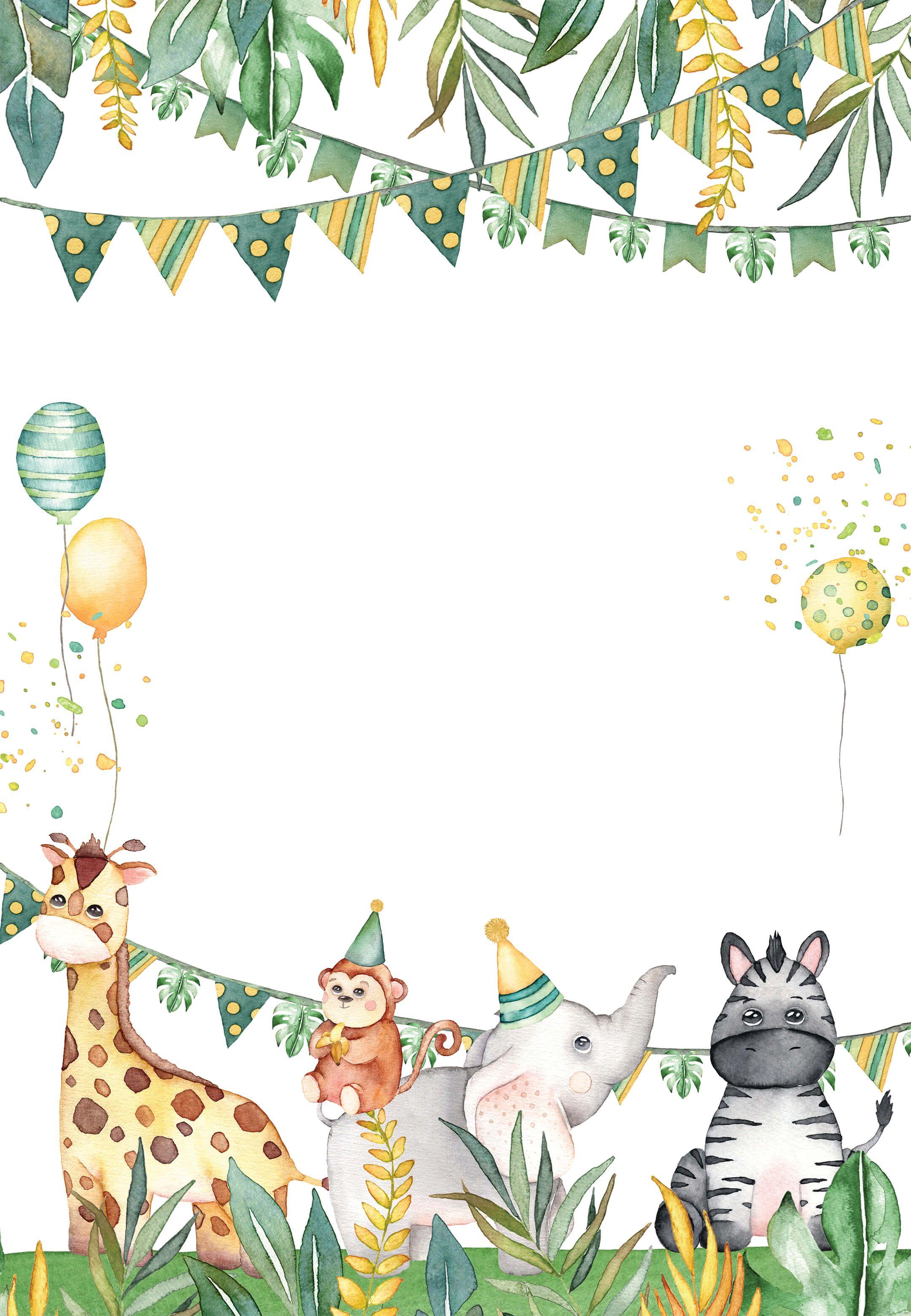 Safari Animal - Birthday Invitation Template (Free)  Greetings