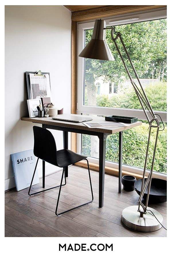 Mesmerizing Window Design For Small House To Be Inspired By: Hege Morris' Home Office Has A Small, Simple Desk Facing A Large Window With A Large Bronx Floor