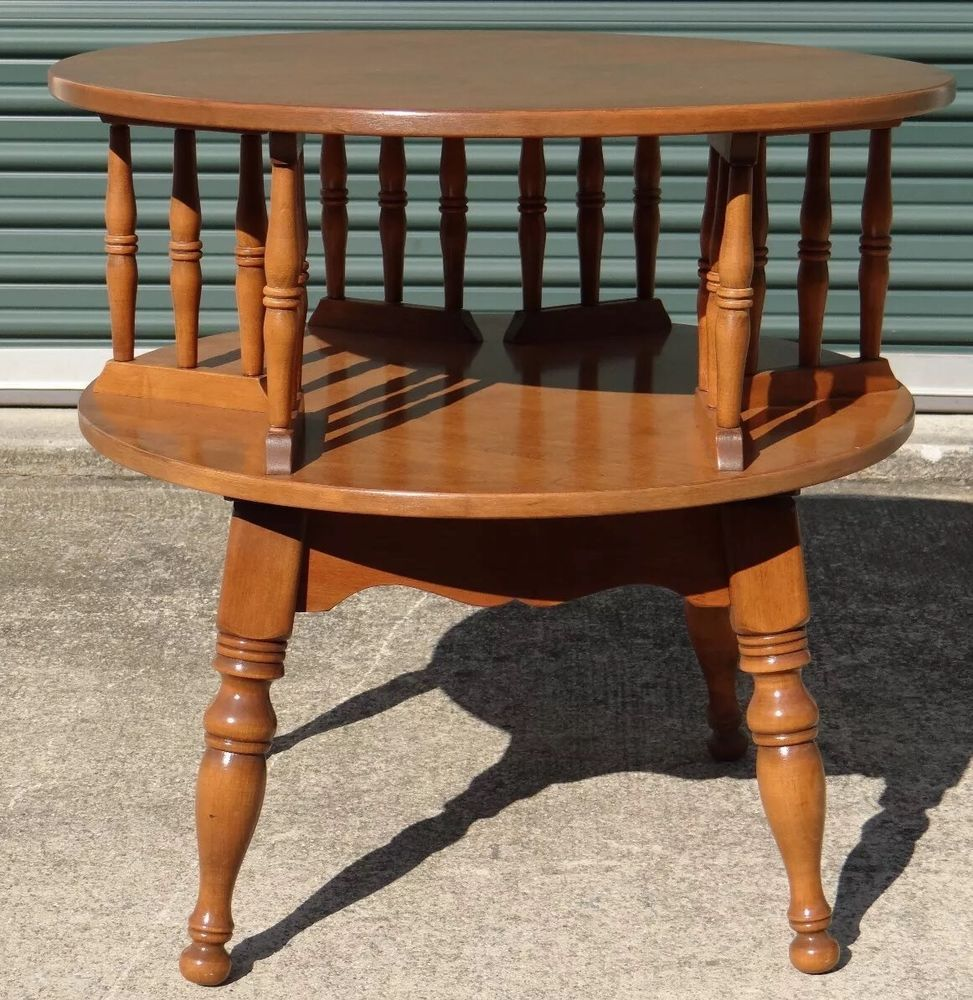 Baumritter ETHAN ALLEN - Rock Maple Rotating Accent Book Side End Table # EthanAllen #Colonial - Baumritter ETHAN ALLEN - Rock Maple Rotating Book Shelf Accent