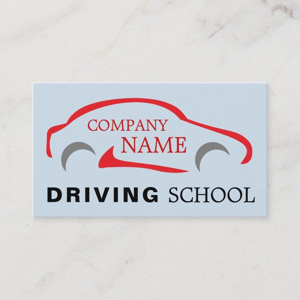 Red Car Logo Driving School Instructor Business Card Zazzle Com In 2021 Driving Instructor Red Car Car Logos