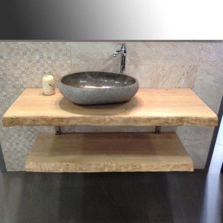 Meuble salle de bain Source en chêne massif Projet_SdB Pinterest - meuble salle de bain en chene massif