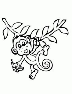 monkey coloring pages monkey with banana coloring page free