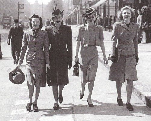 World War II dictated much of the fashion trends in the early and mid 1940s.