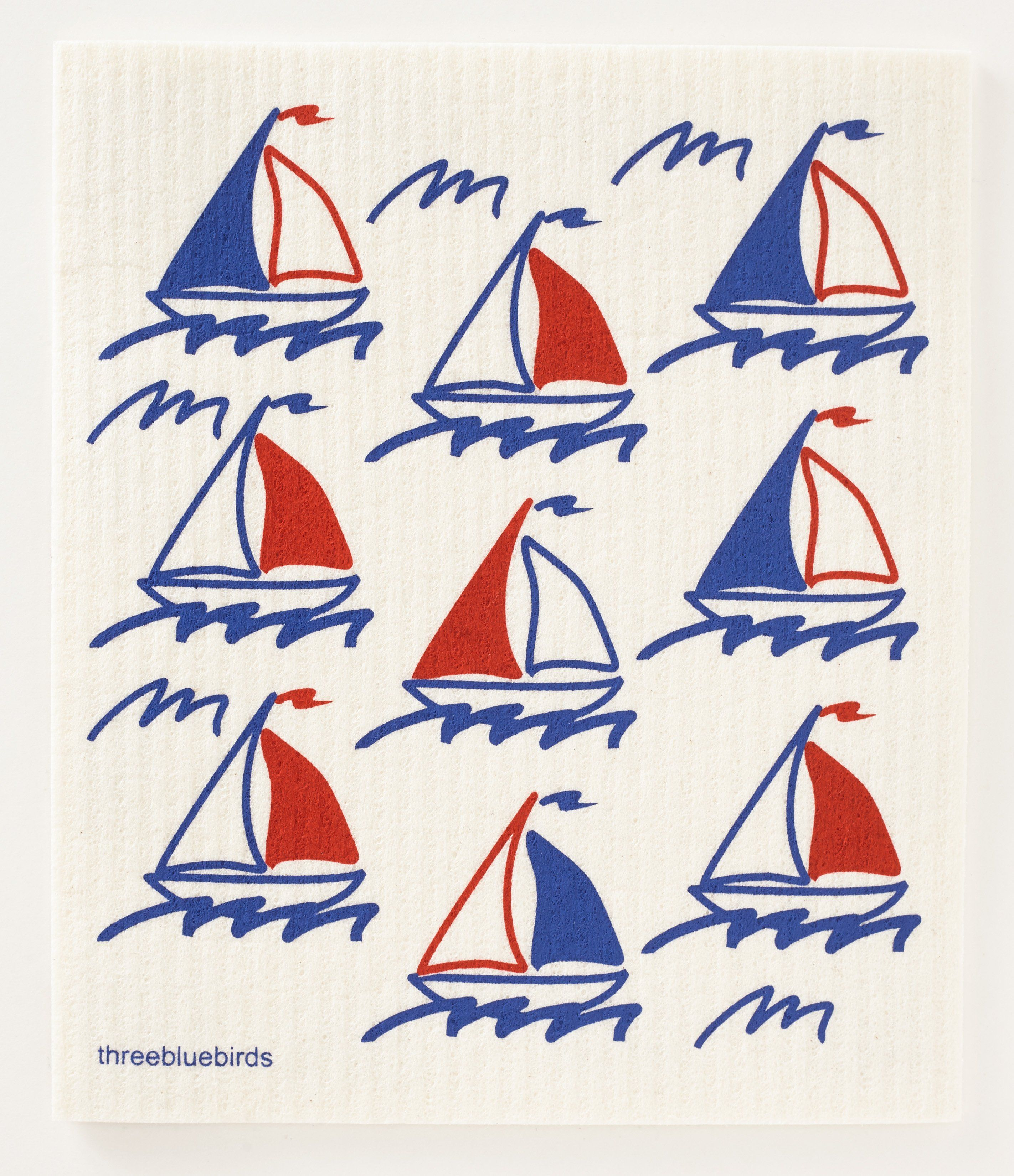 Sailboats Swedish Dishcloth