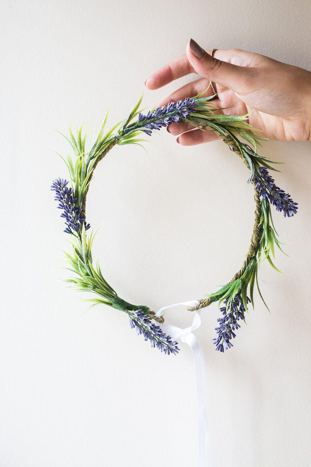 Lavender Floral Crown Flower Band Faux Flowers Silk Flowers