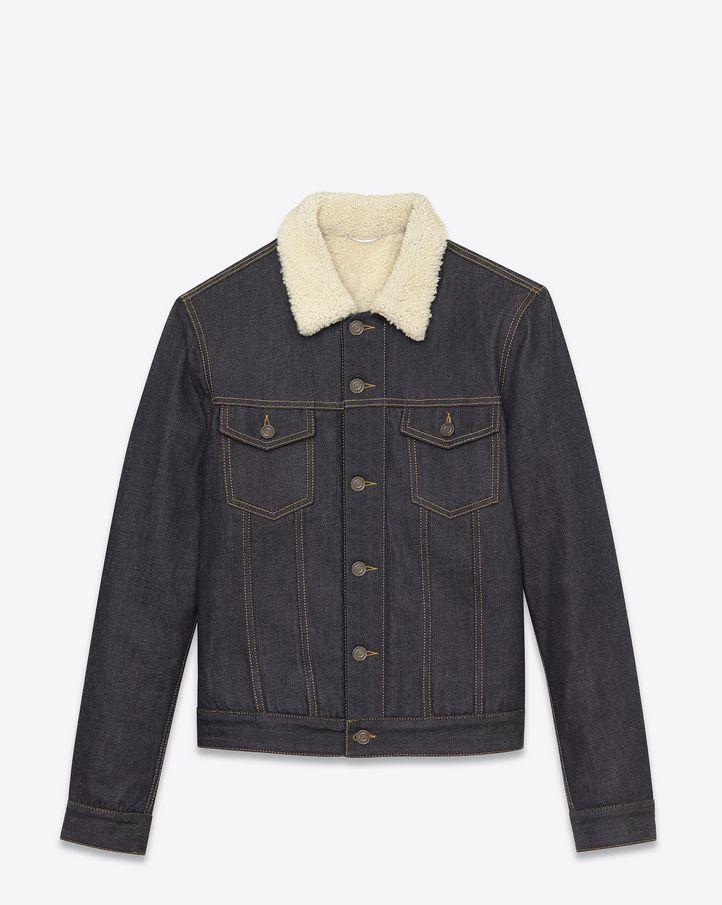 Veste en jean doublée de shearling, agrémentée de poches poitrine à rabat et de deux pattes à la taille.SAINT LAURENT