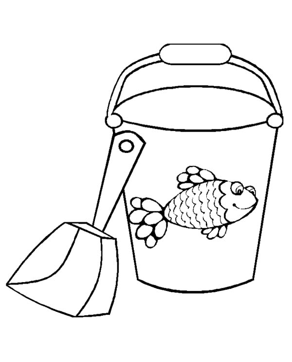 Fish Decorated Bucket And Shovel Coloring Pages Best Place To Color Coloring Pages Beach Bucket Color