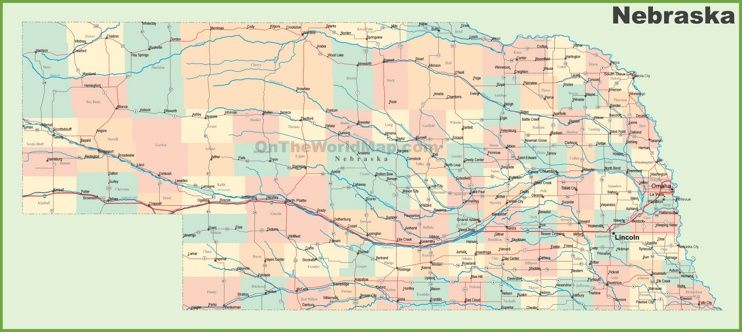 Road map of Nebraska with cities Maps Pinterest City