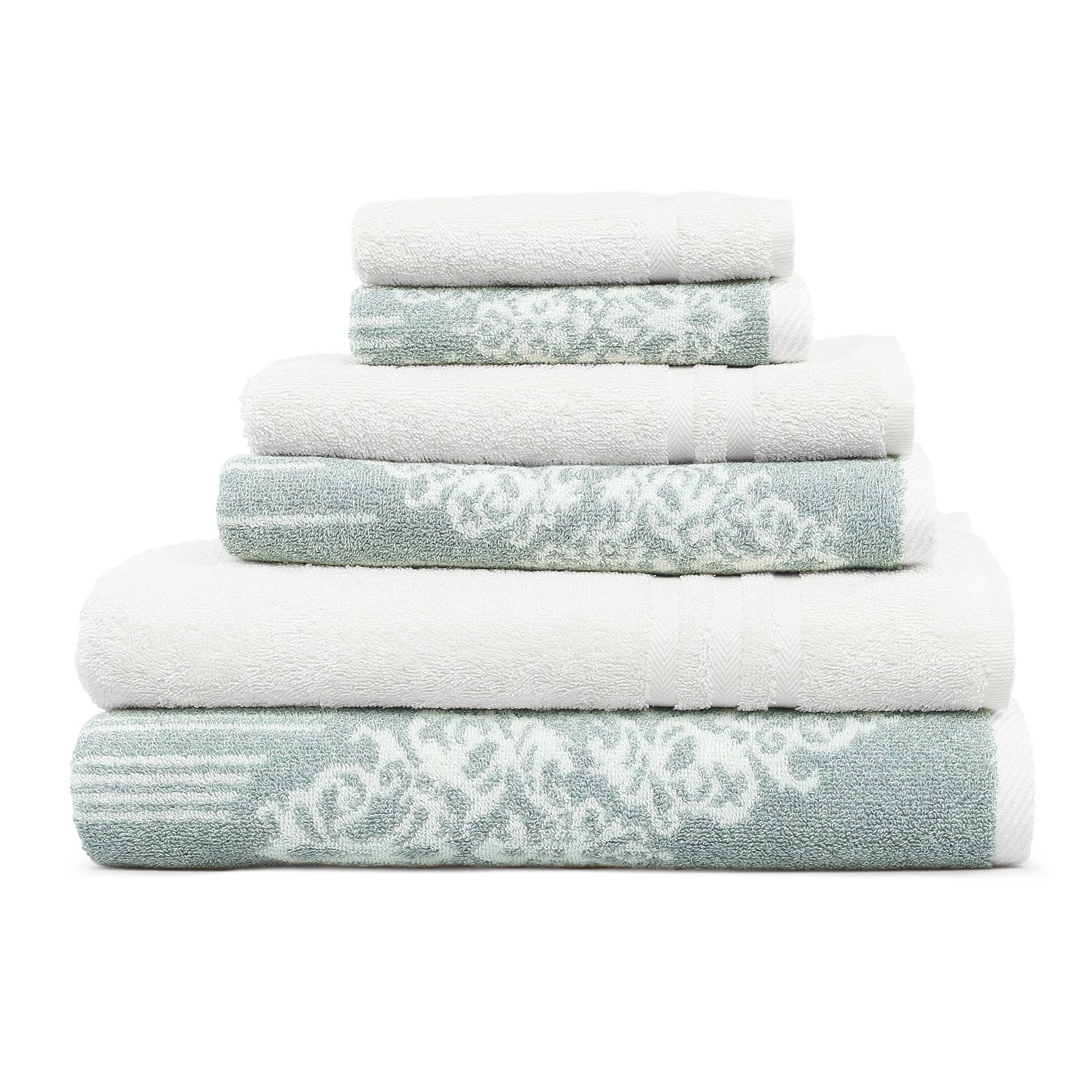 Linum Home Textiles Gioia Denzi Towels Set Of 6 Soft Aqua White