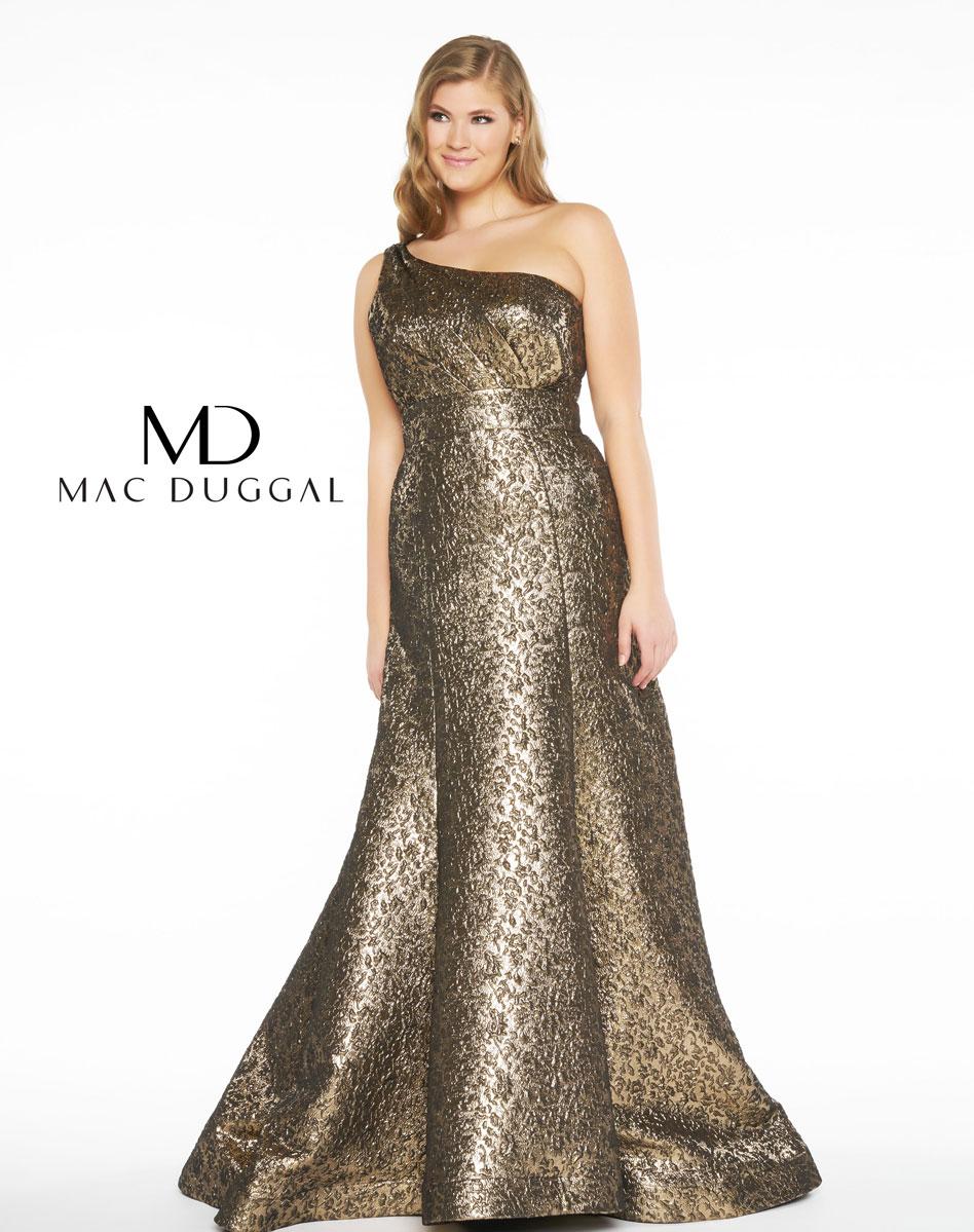1-Shoulder Mac Duggal Fabulouss Plus 66282F Antique Gold Metallic ...