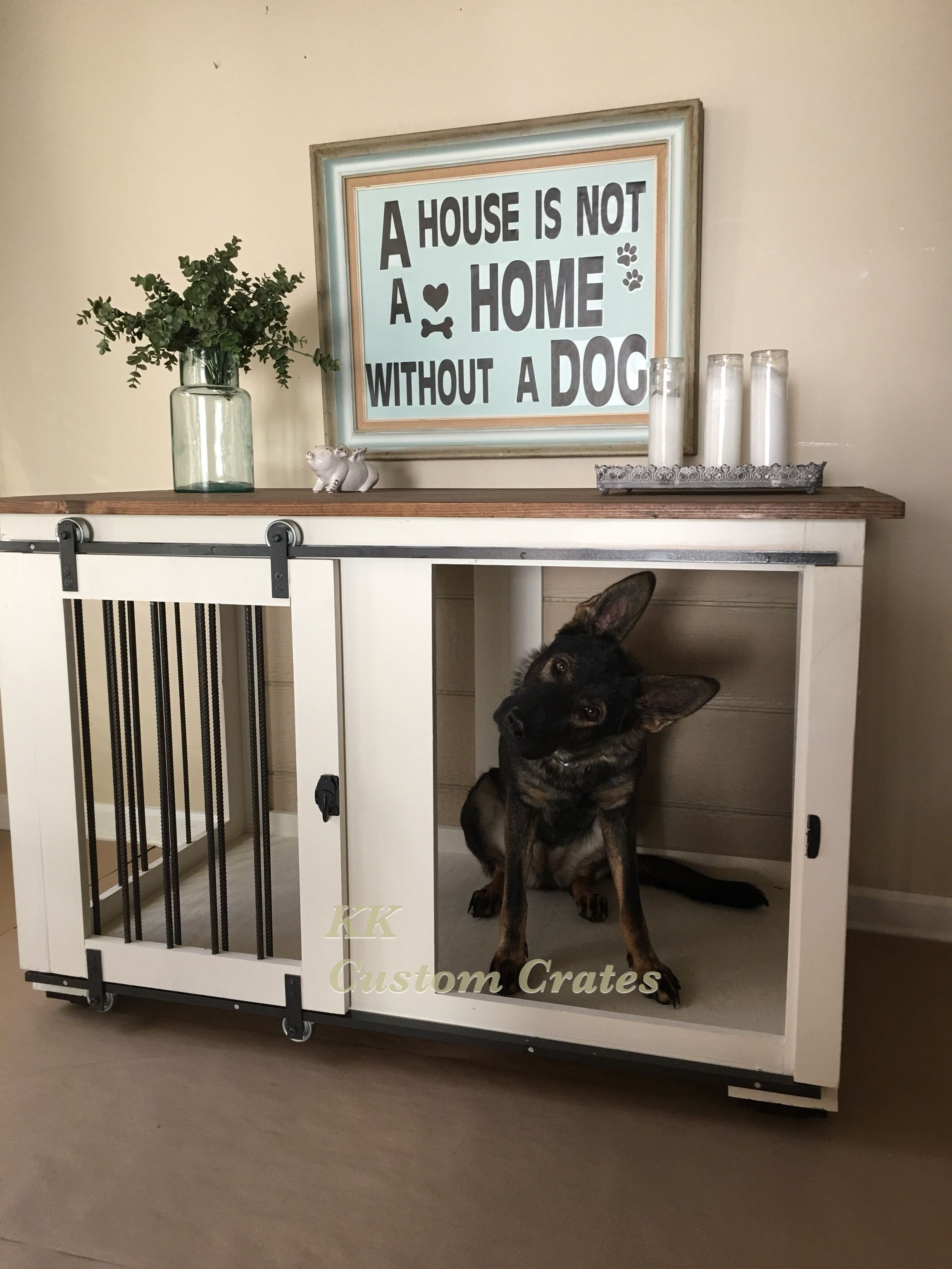 Dog crate kk custom dog crate furniture charlotte nc pet for Diy crate furniture