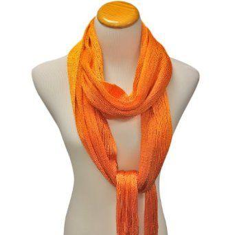 Orange Shimmery Lightweight Long Mesh Scarf Luxury Divas. $12.99