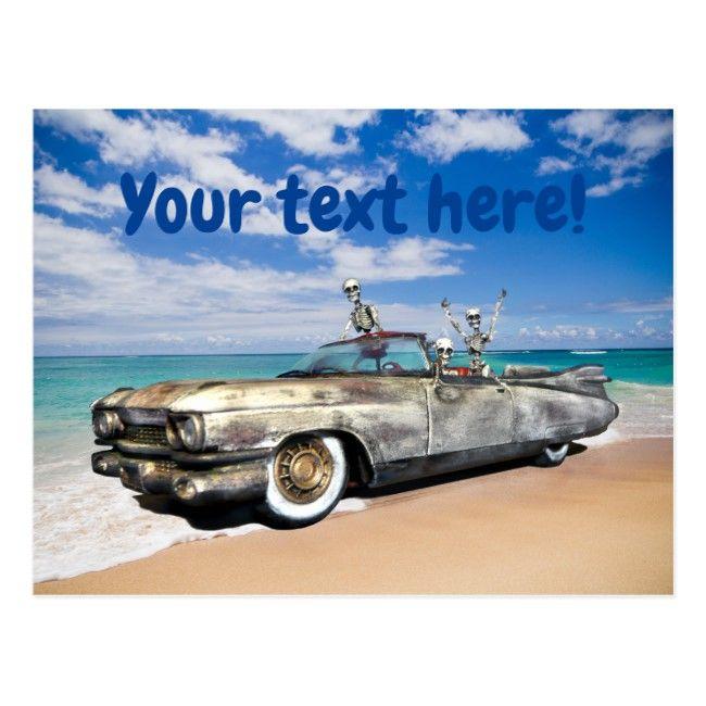Skeleton Joyride Old Car On Beach Funny Postcard