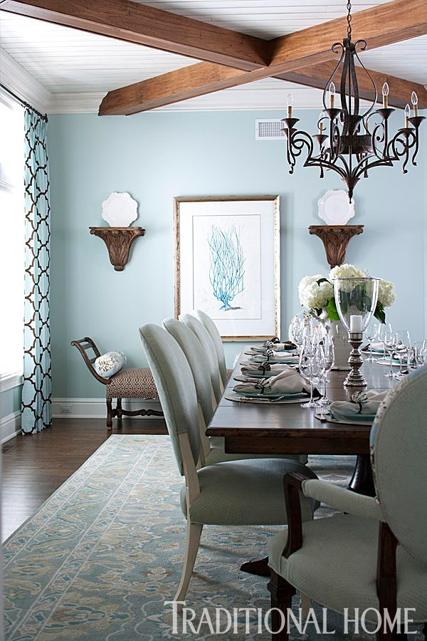 Blue Brown Beach House Dining Room
