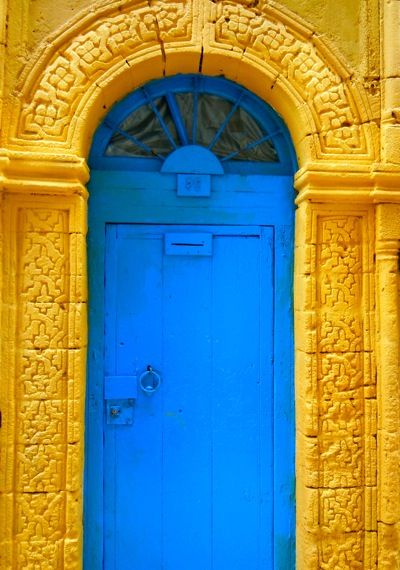 blue and yellow.